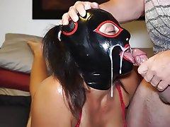 Amateur, BDSM, Cum in mouth, Latex